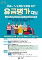 S성남시, 노동 취약계층 유급병가 최장 13일 지원